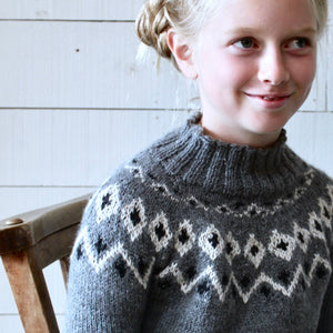 Scandi Fair Isle yoke jumper (grey/cream)