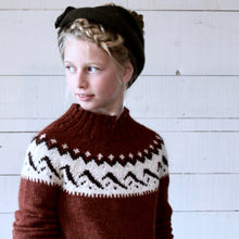 Load image into Gallery viewer, Mountain Fair Isle yoke jumper (rust/cream)