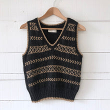Load image into Gallery viewer, Fair Isle fitted vest MEDIUM/LARGE (charcoal/camel - HS)