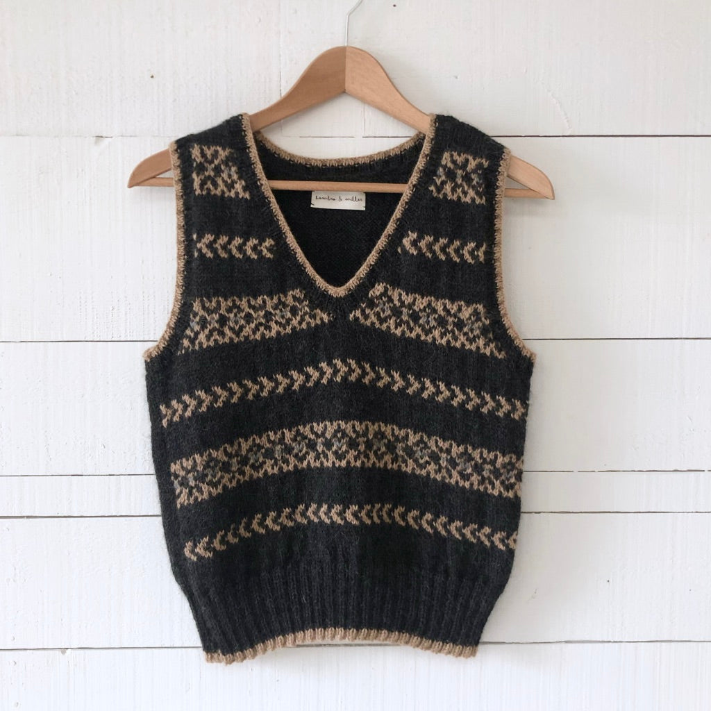 Fair Isle fitted vest MEDIUM/LARGE (charcoal/camel - HS)