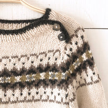 Load image into Gallery viewer, Intricate Fair Isle button neck jumper MEDIUM (cream/multi - HS)