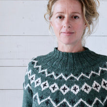 Load image into Gallery viewer, Scandi Fair Isle yoke jumper (green/cream)