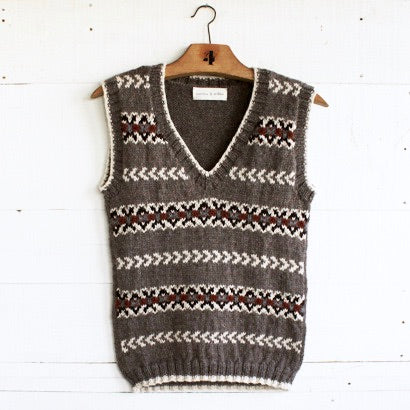 Fair Isle fitted vest (brown/multi)