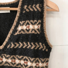 Load image into Gallery viewer, Fair Isle fitted vest MEDIUM/LARGE (charcoal/camel/rust - HS)