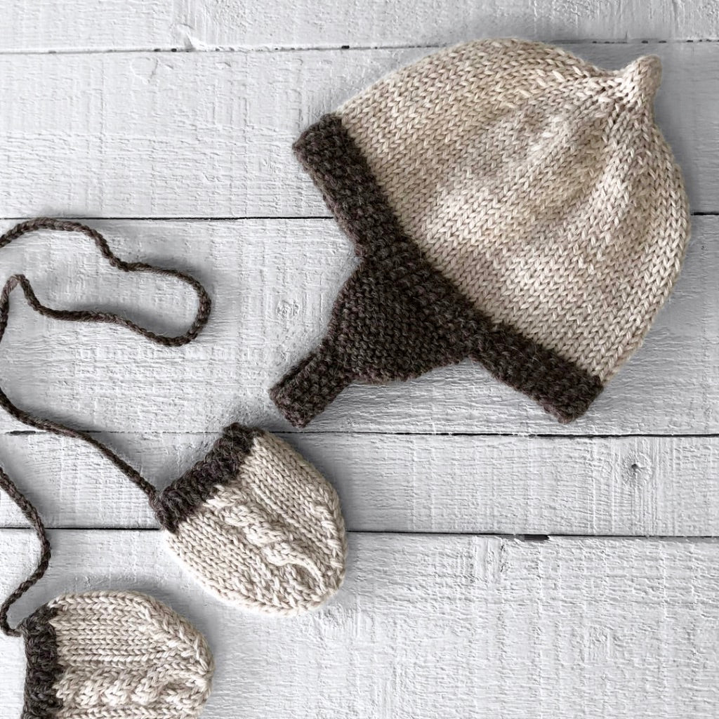 Newborn gift set - hat & mitts (cream/brown)