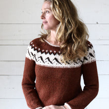 Load image into Gallery viewer, Mountain Fair Isle button neck jumper (rust/cream)