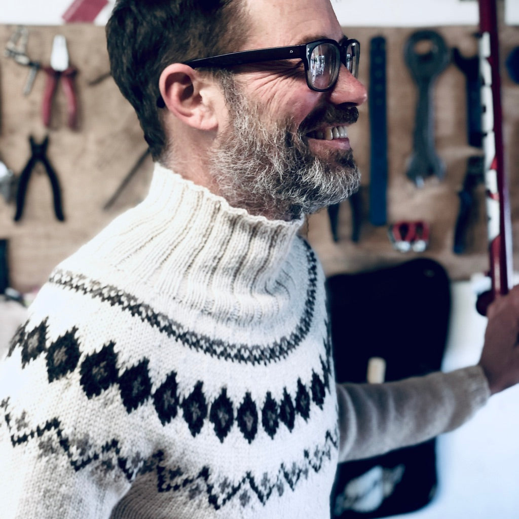 Scandi Fair Isle yoke jumper (cream/brown)