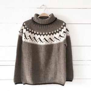 Women's mountain Fair Isle polo neck jumper MEDIUM (brown/cream - HS)