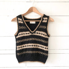 Load image into Gallery viewer, Fair Isle fitted vest SMALL (charcoal/camel/cream - HS)