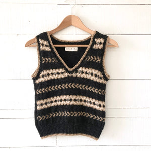 Fair Isle fitted vest SMALL (charcoal/camel/cream - HS)