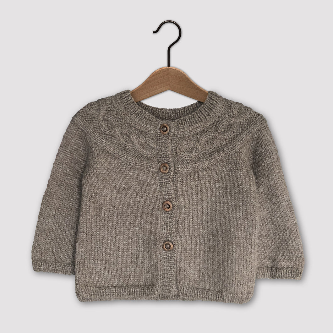 Cable knit yoke cardigan (brown)