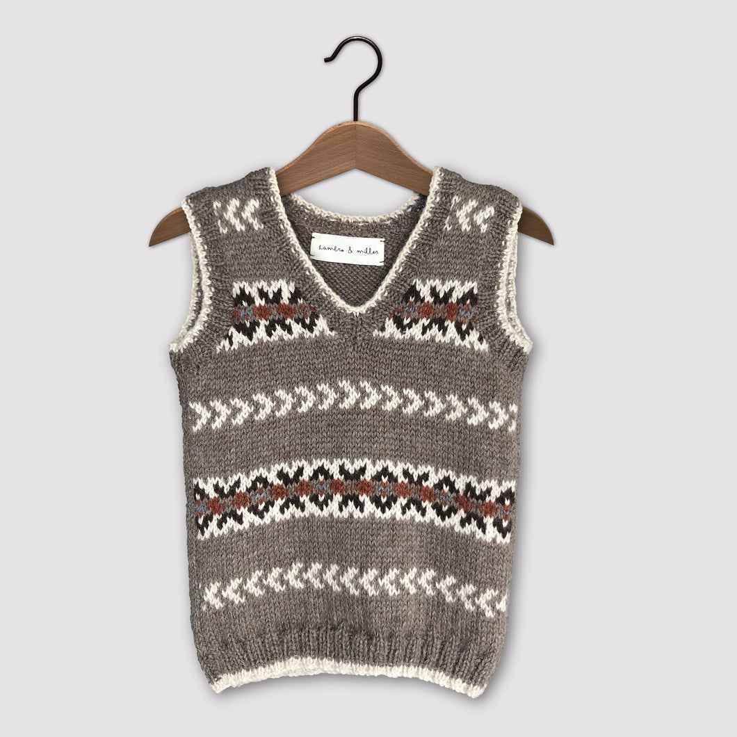 Fair Isle vest (brown/rust)