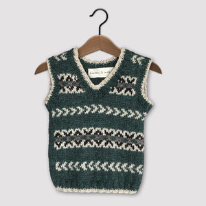 Fair Isle vest (green/cream)