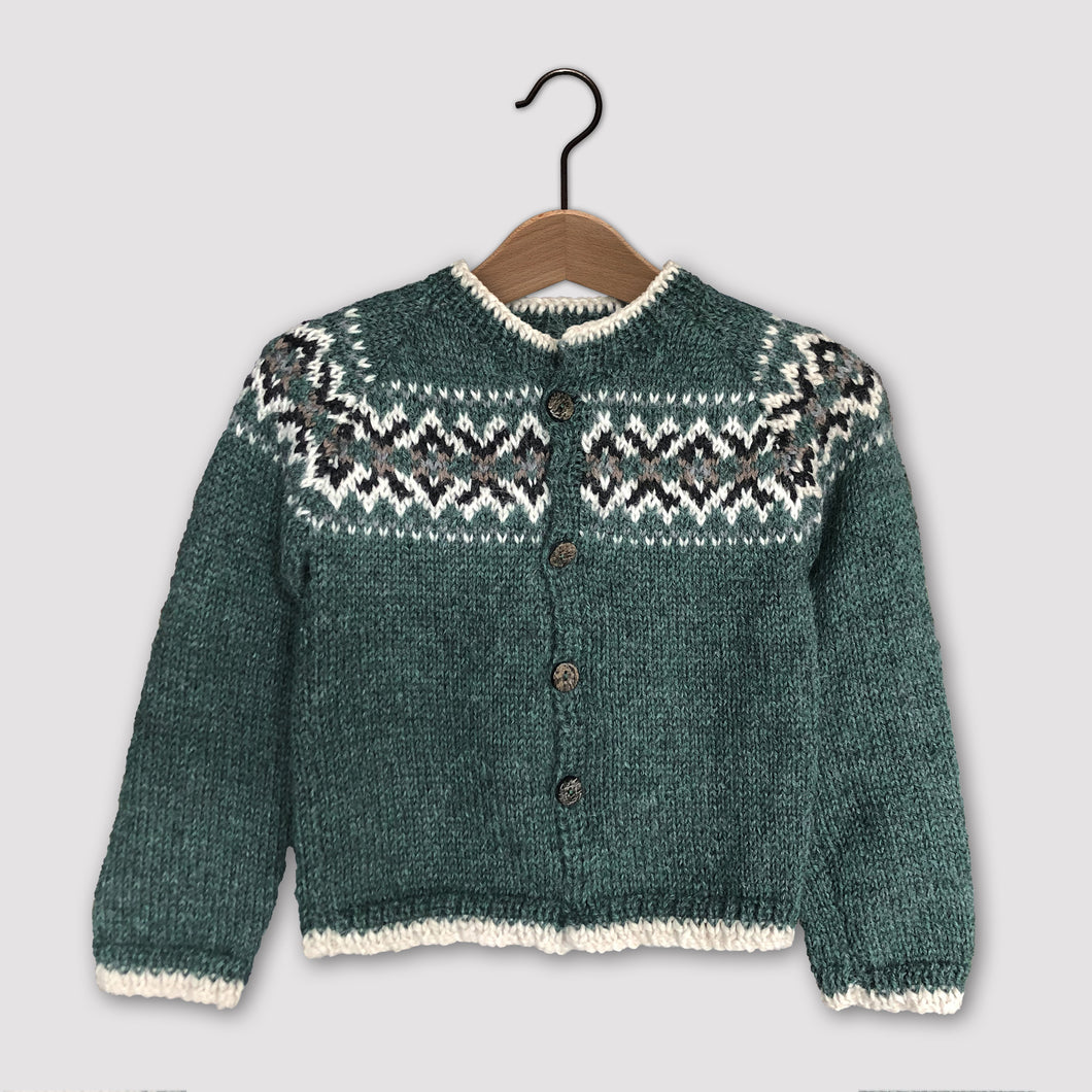 Intricate Fair Isle cardigan (green/multi)