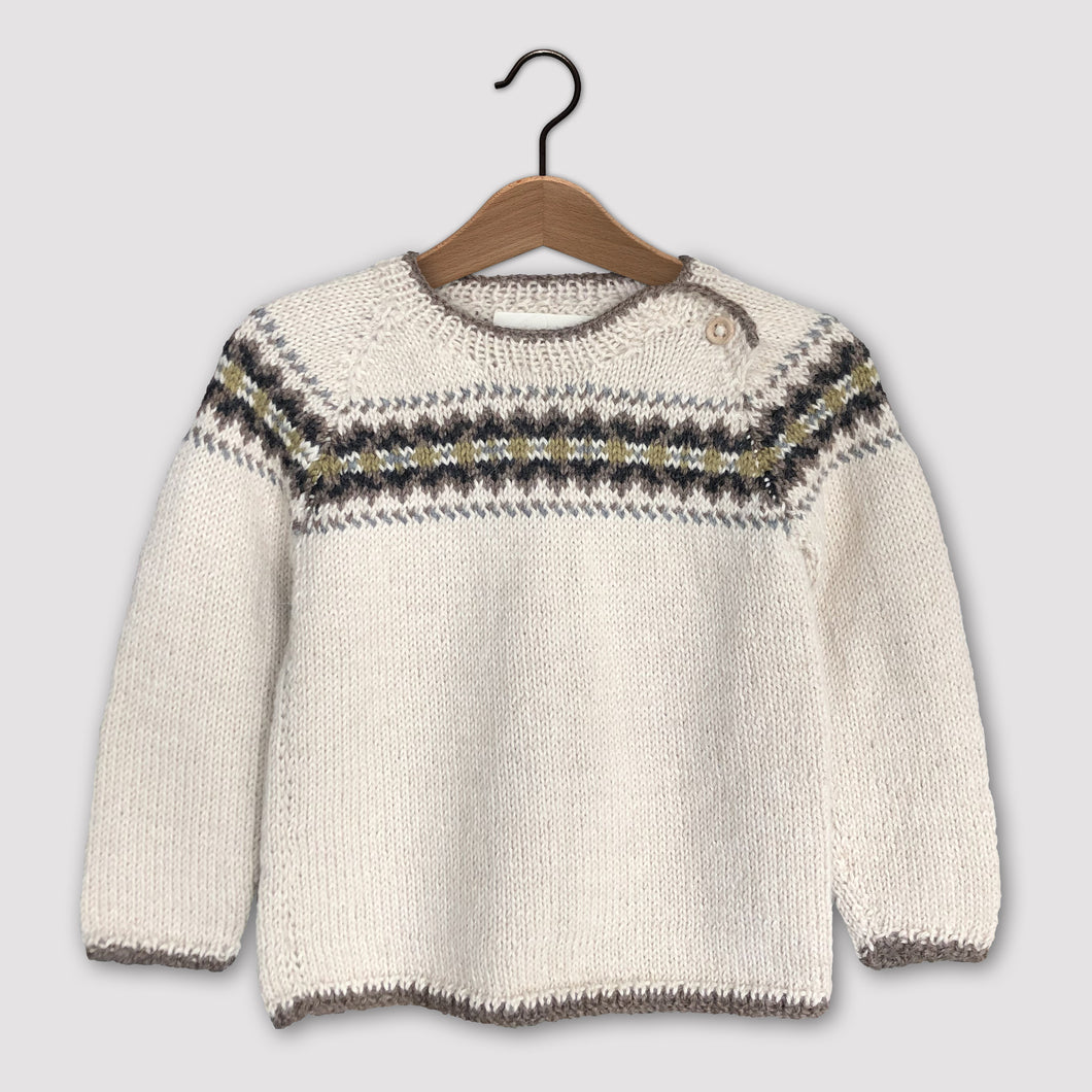 Intricate Fair Isle jumper (cream/multi)