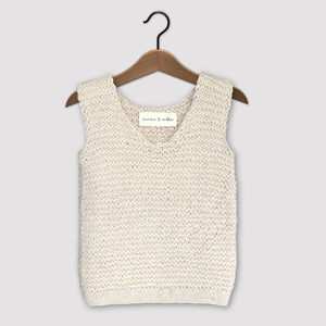 Loose knit vest (cream)