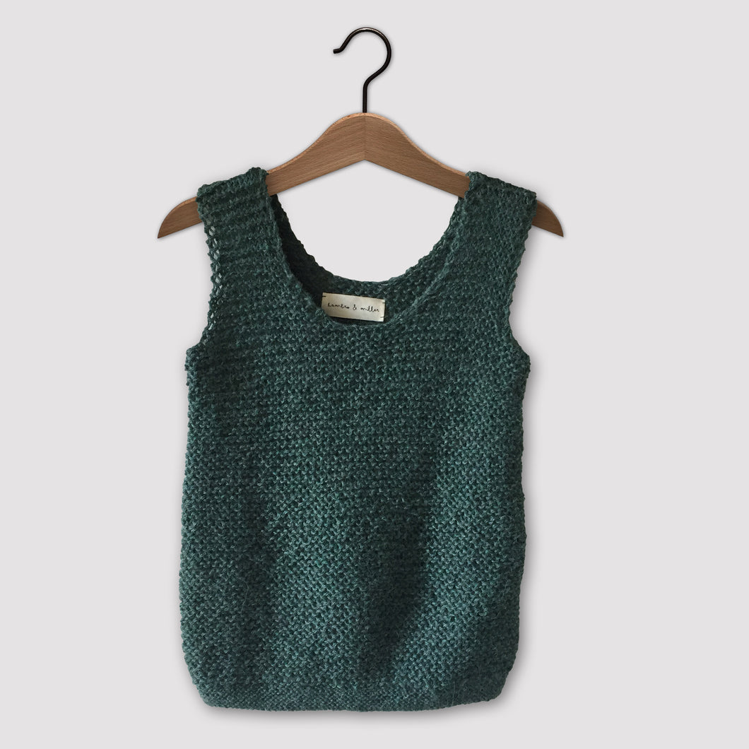 Loose knit vest (emerald green)