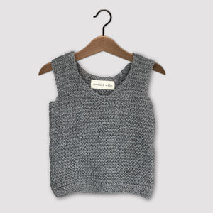 Loose knit vest (grey)