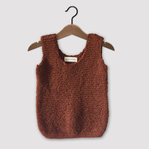 Loose knit vest (rust)