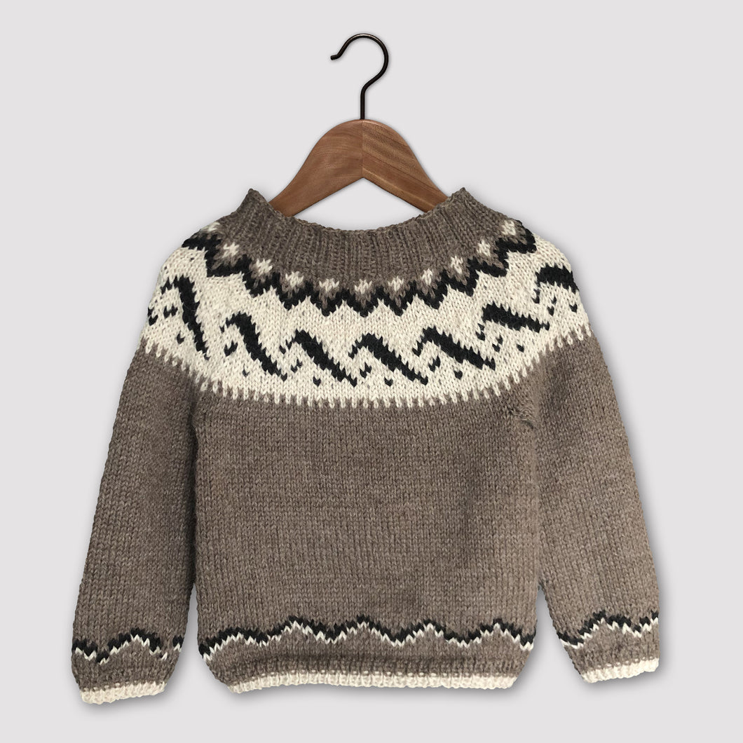 Mountain Fair Isle yoke jumper (brown/cream)