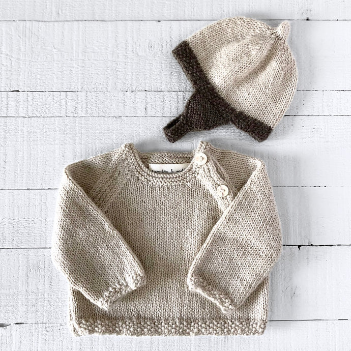 Newborn gift set - hat & jumper (cream/brown)