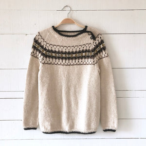 Intricate Fair Isle button neck jumper MEDIUM (cream/multi - HS)