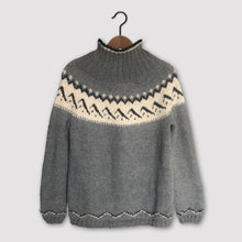 Load image into Gallery viewer, Mountain Fair Isle polo neck jumper (grey/cream)