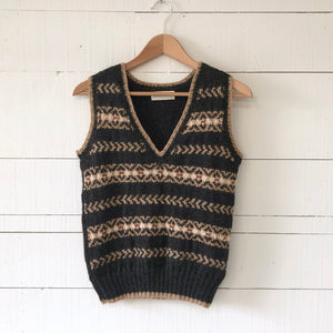 Fair Isle fitted vest MEDIUM/LARGE (charcoal/camel/rust - HS)