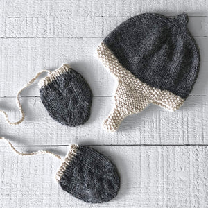 Newborn gift set (grey/cream) hat & mitts