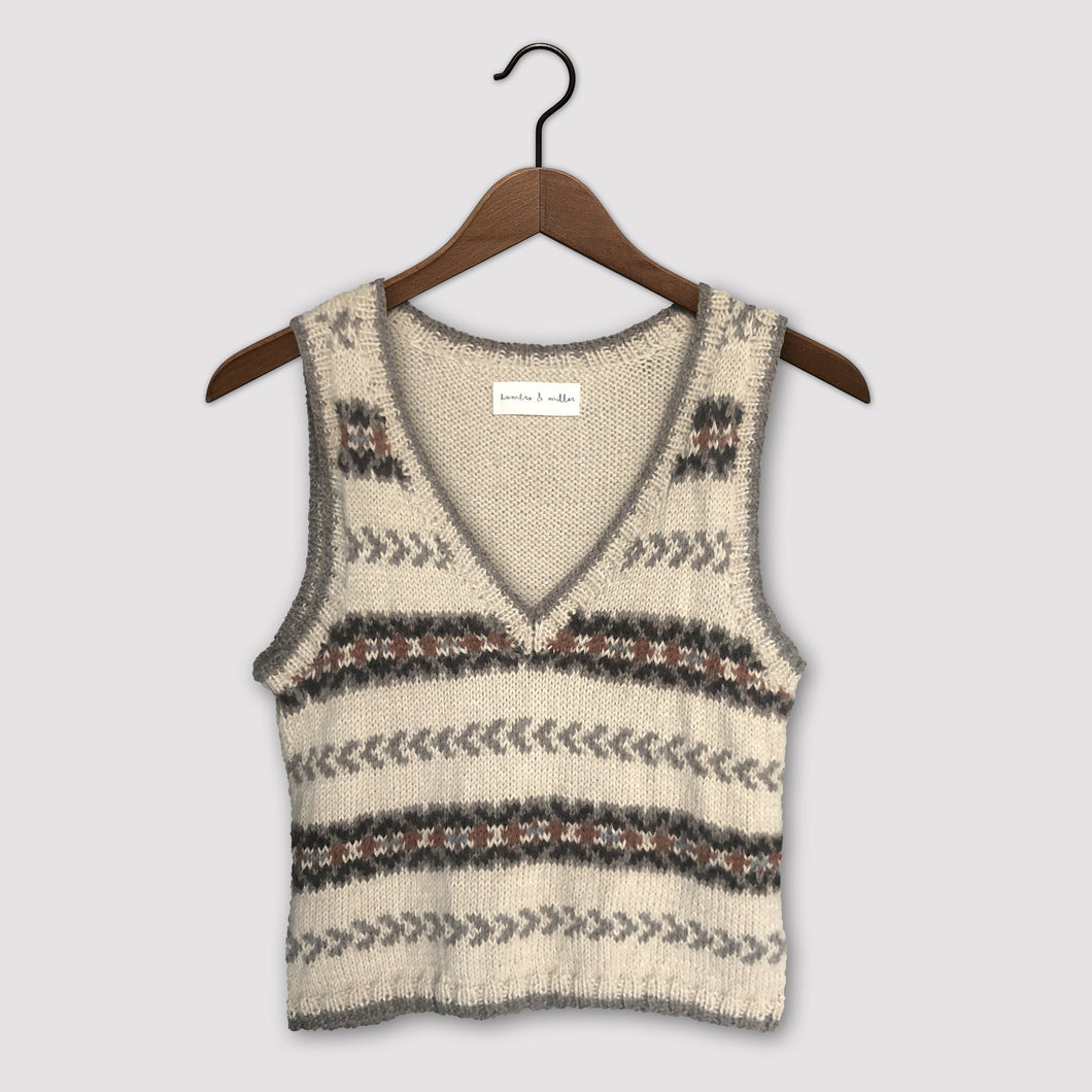 Fair Isle fitted vest (beige/brown/rust)