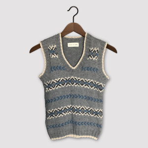 Fair Isle fitted vest (grey/blue)