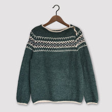 Load image into Gallery viewer, Intricate Fair Isle button neck jumper MEDIUM (green/multi - HS)