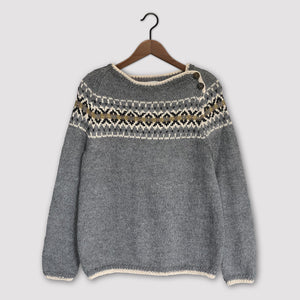 Intricate Fair Isle button neck jumper (grey/multi)