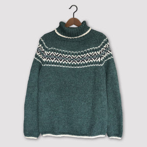 Intricate Fair Isle polo neck (green/multi)