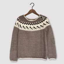 Load image into Gallery viewer, Mountain Fair Isle button neck jumper (brown/cream)