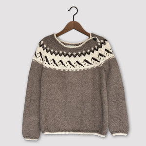Mountain Fair Isle button neck jumper (brown/cream)