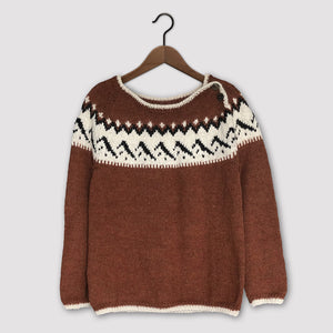 Mountain Fair Isle button neck jumper (rust/cream)