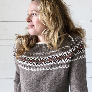 Intricate Fair Isle button neck jumper (brown/multi)