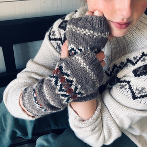 Fair Isle wristwarmers (brown/rust)