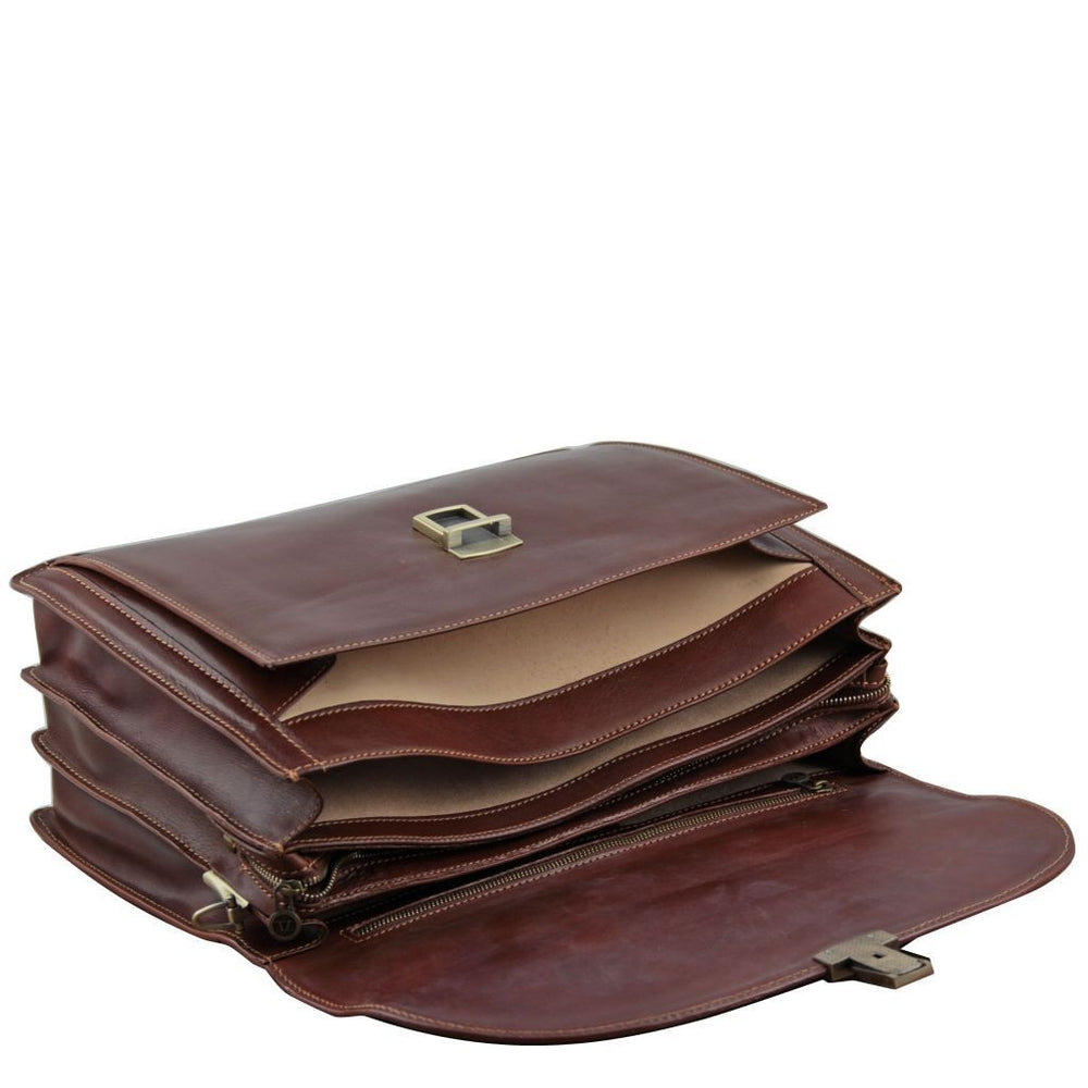 Taormina Exclusive leather laptop case 3 compartments