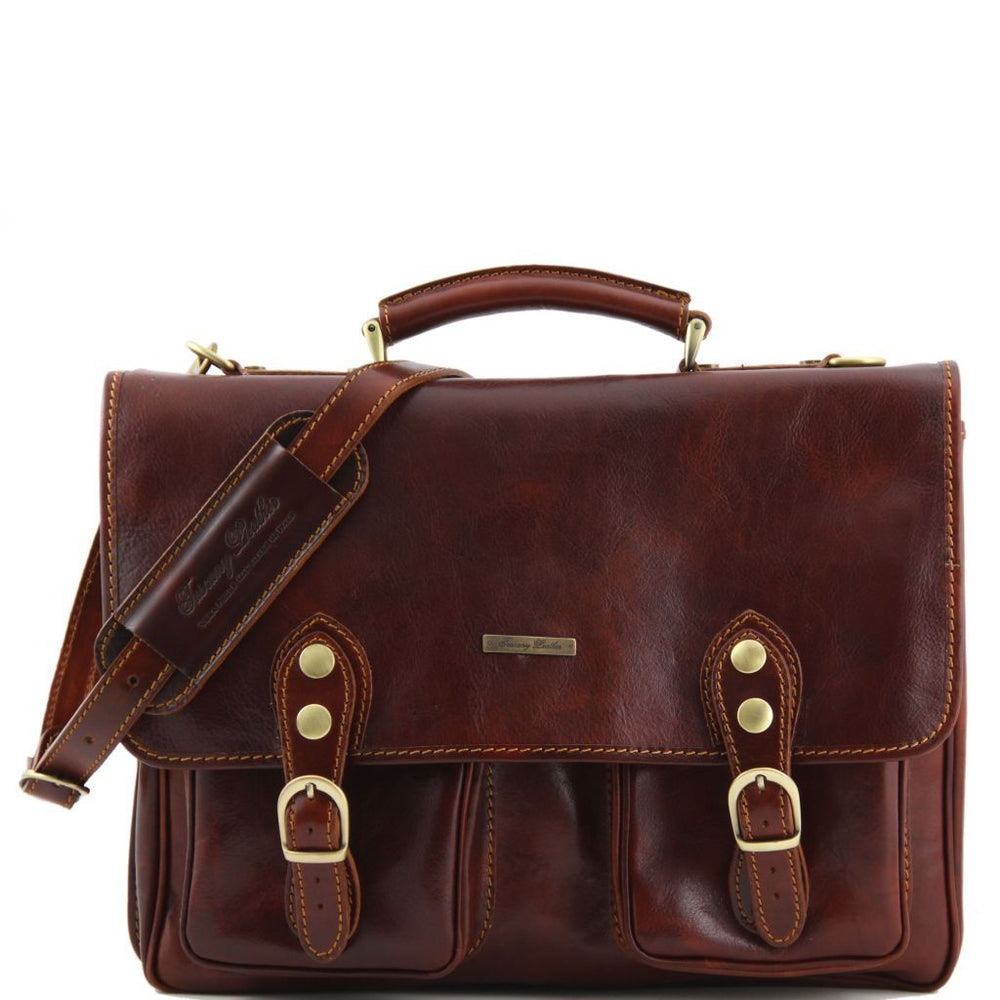 Modena Leather briefcase 2 compartments - Large size