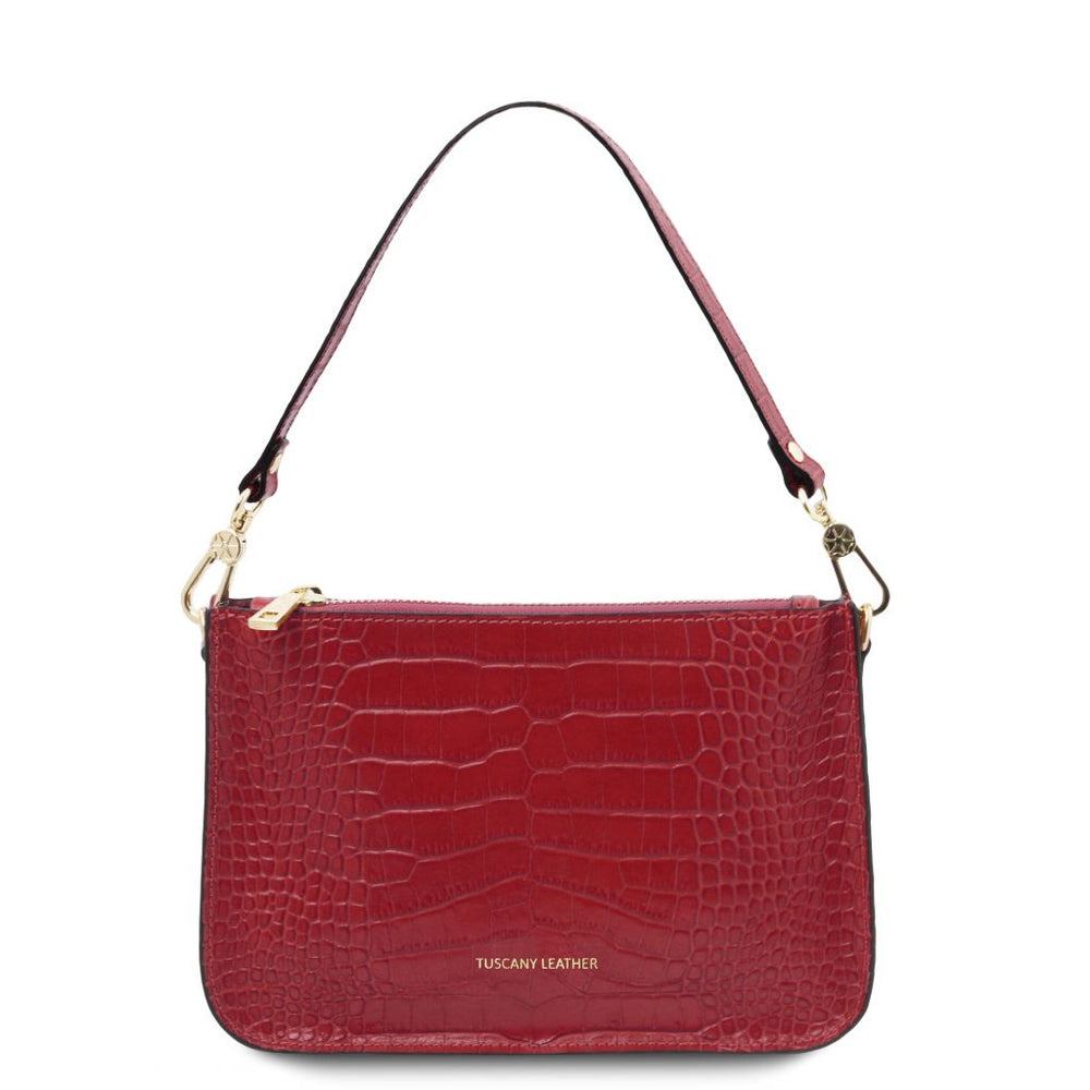 Cassandra Croc print leather clutch handbag