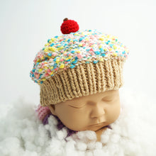 Load image into Gallery viewer, Winter Baby Beanie - Crochet Cupcake Beanie Baby With Beige Brim