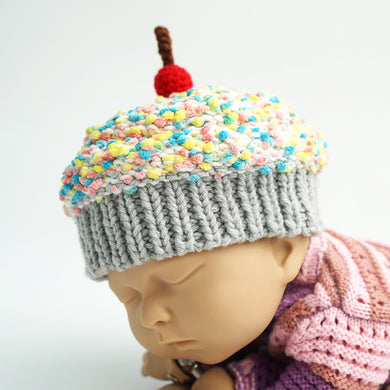 Winter Baby Beanie - Crochet Cupcake Beanie Baby With Grey Brim