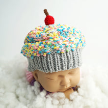 Load image into Gallery viewer, Baby Beanie - Crochet Cupcake Beanie Baby With Grey Brim