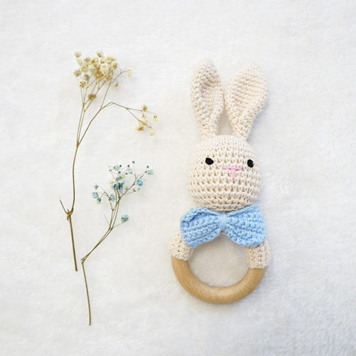 Natural & Handmade Crocheted Wooden Rattle Teether Ring - Bunny
