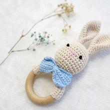 Load image into Gallery viewer, Natural & Handmade Crocheted Wooden Rattle Teether Ring - Bunny