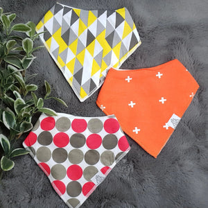 3pc Set Fashionable Baby Organic Bandana Bibs - Circle, Cross & Triangle