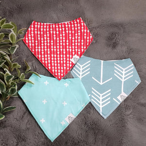 3pc Set Fashionable Baby Organic Bandana Bibs - Red, White & Green (3 pieces)