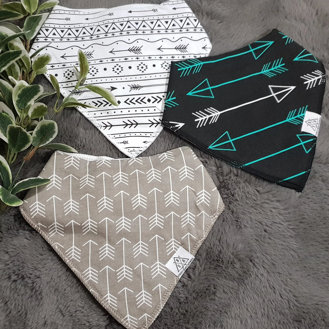 3pc Set Fashionable Baby Organic Bandana Bibs - White, Grey, & Black Arrows